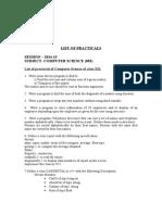 List of Practicals of CS XII 2014