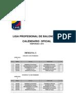 Calendario Oficial Liga Profesional de Baloncesto 2015