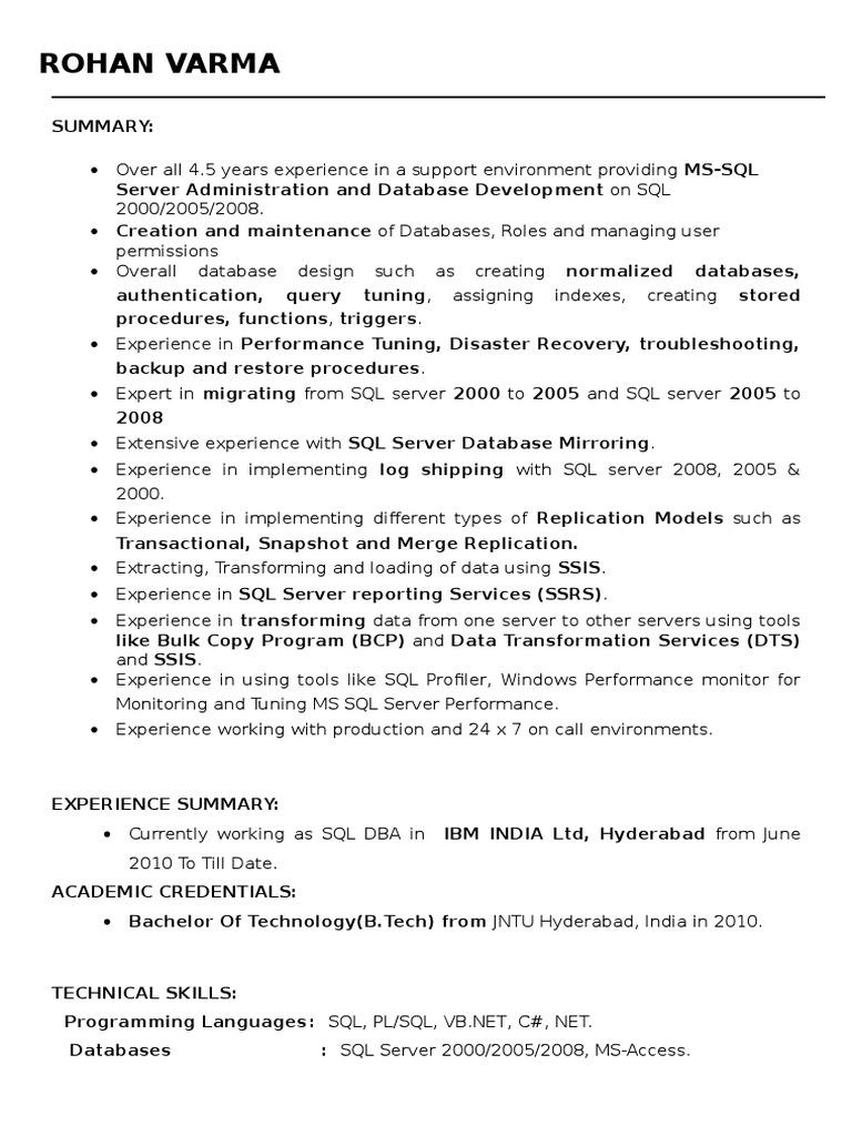 dba resume  microsoft sql server  sql  free 30day