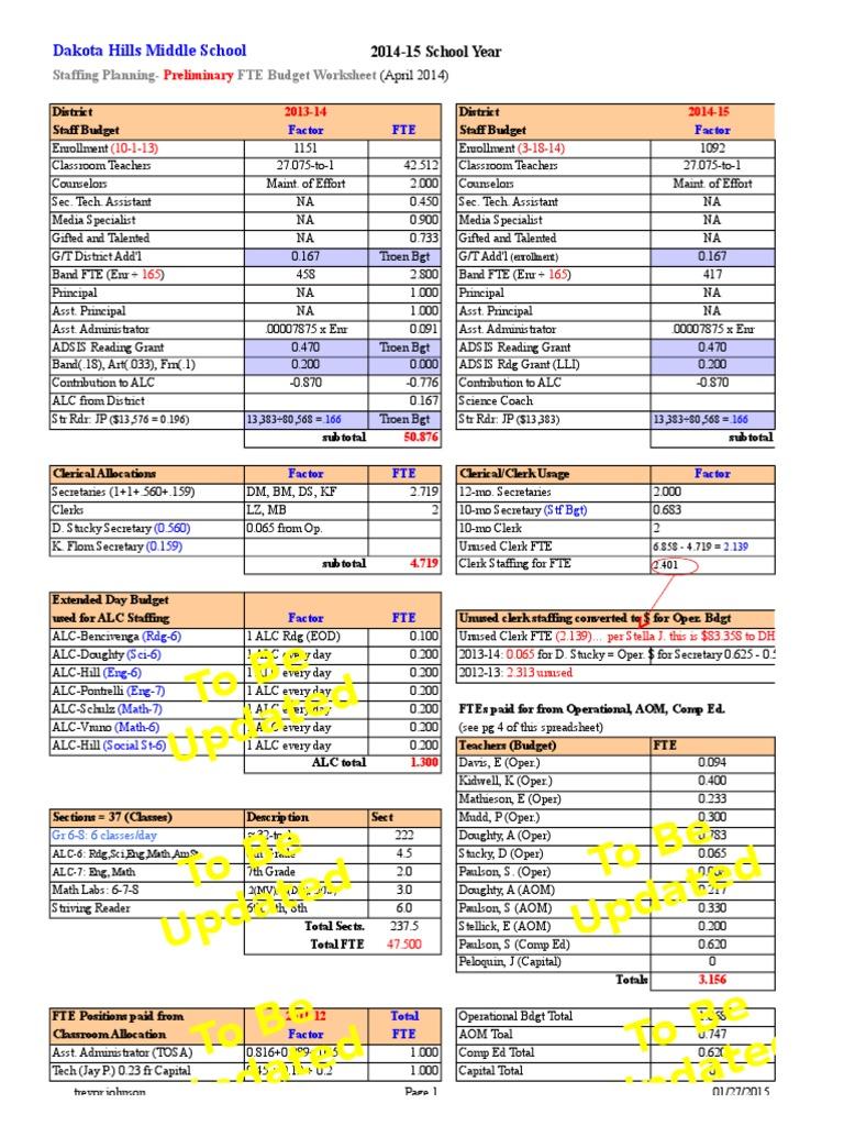 Worksheets Fte Calculation Worksheet dhms staffing budget worksheet spring 2014 prelim schools employment