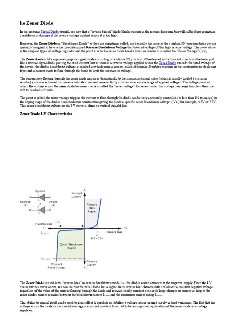 Elszddoc Diode Pn Junction Zener Voltage Regulator Circuit