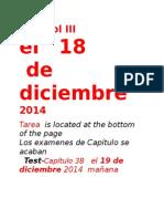 Spanish III Lesson El 18 de Diciembre 2014