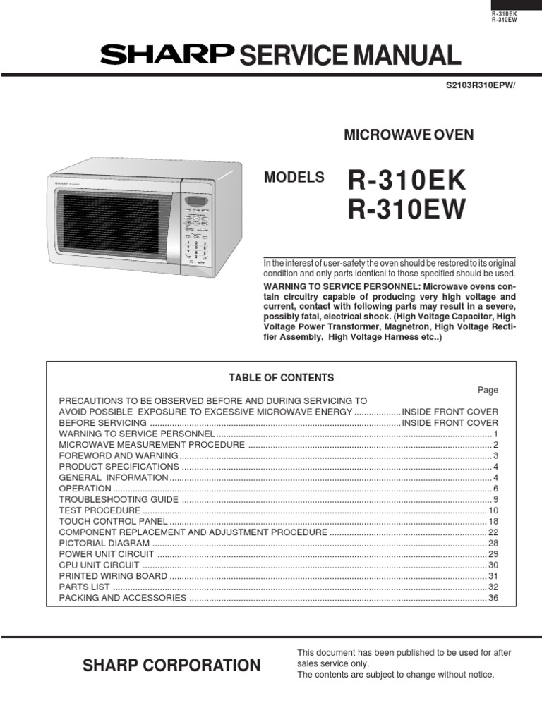Microwave Drawer Diagram And Parts List For Sharp Microwaveparts R310ew Switch Power Supply