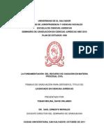 La Fundamentación del Recurso de Casación en Materia Procesal Civil