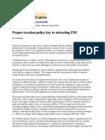 Proper Taxation Policy Key to Attracting FDI
