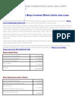 Kalkulasi Perhitungan Biaya Investasi Bisnis Usaha Jasa LASER CUTTING ENGRAVING