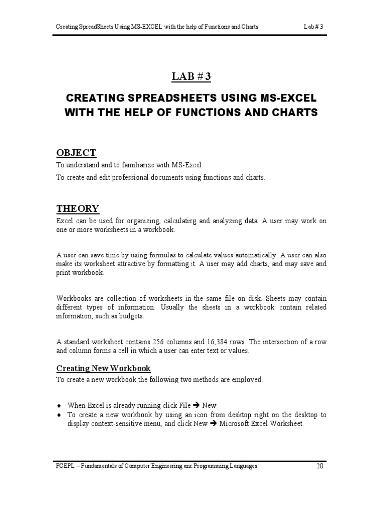 Workbooks workbook methods : Lab 3   Microsoft Excel   Spreadsheet
