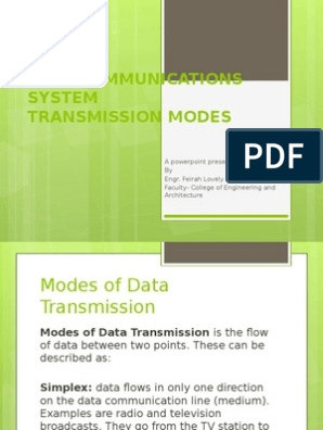 DATA COMMUNICATIONS- TRANSMISSION MODES pptx | Networks
