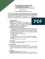 Edital Especialização 2013 Arqueologia