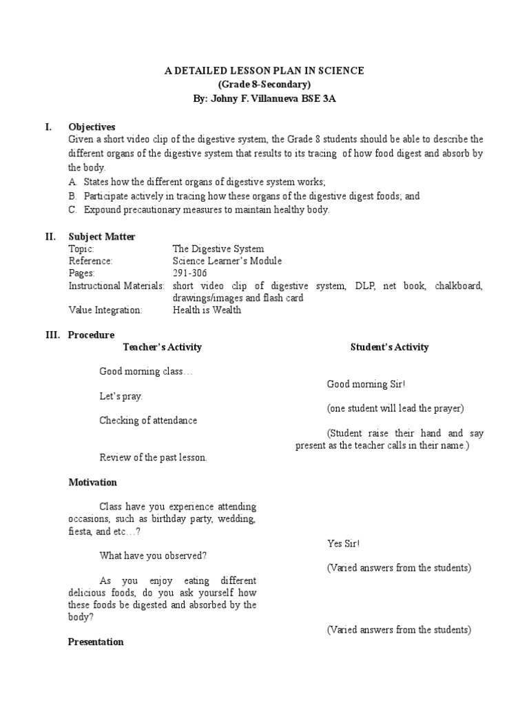 detailed lesson plan for high school science