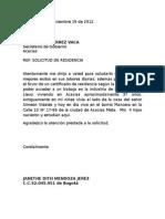 Carta de Residencia a La Alcaldía