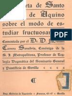 Santo Tomás de Aquino - Carta sobre el modo de estudiar fructuosamente (Ed. Bilingue, Coment. M. Carrera Sanabria, 1928)
