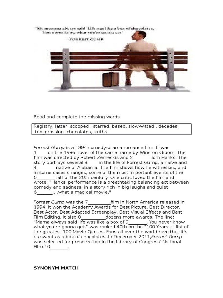 Free Worksheet Forrest Gump Worksheet forrest gump movie worksheet