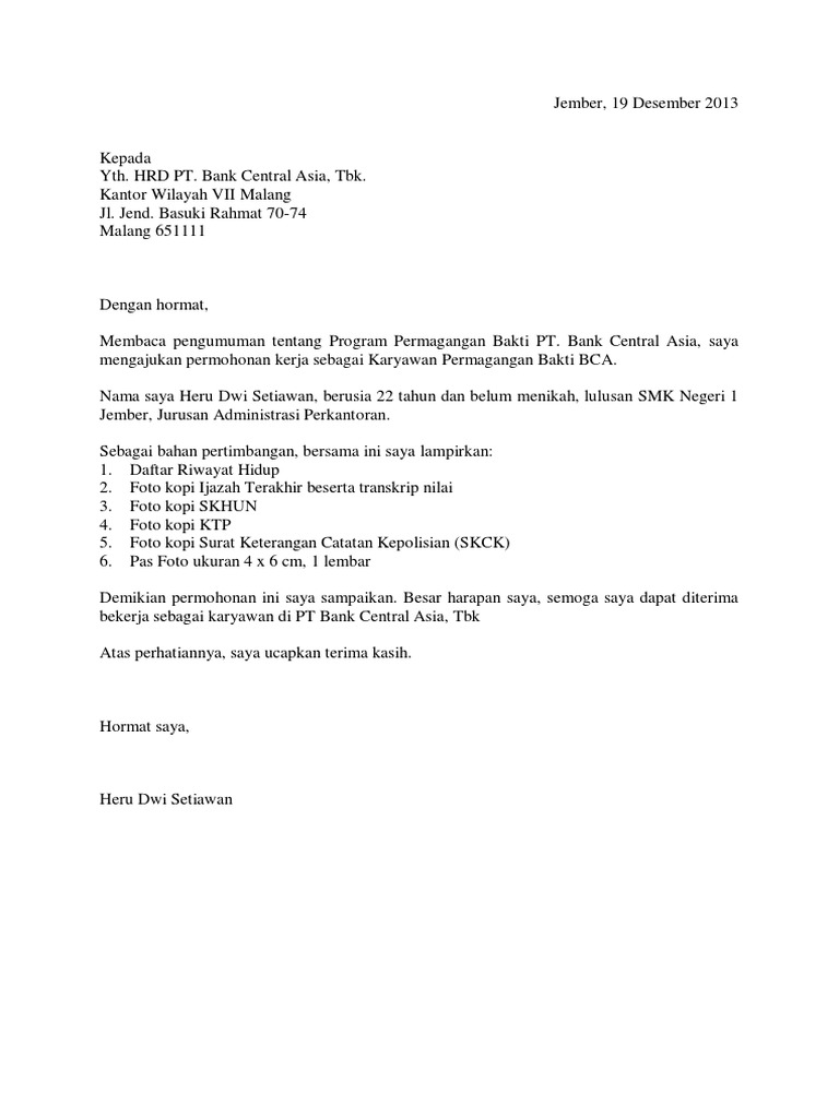 Surat Lamaran Untuk Magang Bakti Bca