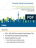 TTC staff recommended 2015 operating budget and 2015-2024 capital budget