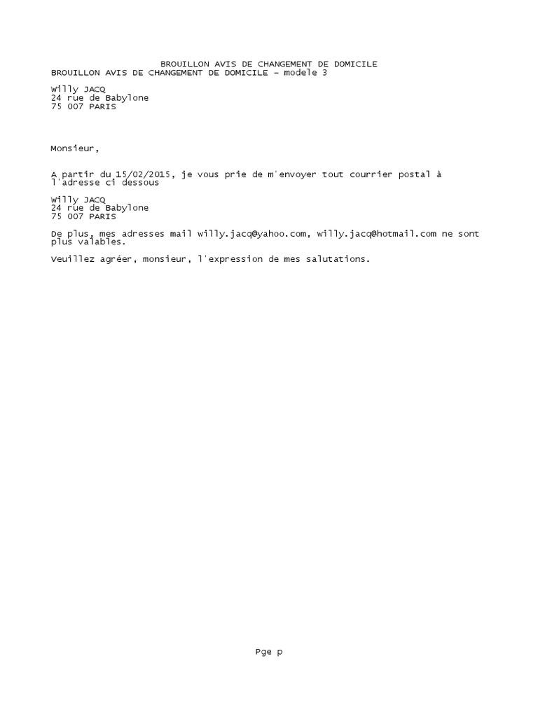 Brouillon AvisBROUILLON AVIS DE CHANGEMENT DE DOMICILE de