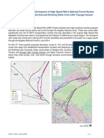 Examination of Potential Impacts of High Speed Rail's National Forest Routes  on Los Angeles Locally-Sourced Drinking Water from Little Tujunga Canyon