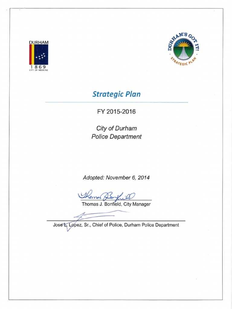 City Of Durham Police Department Strategic Plan 2015 2016 Police