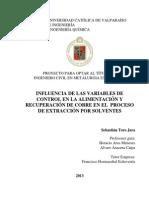 Influencia de Las Variables de Control en La Alimentación y Recuperación de Cobre en El Proceso de Extracción Por Solventes
