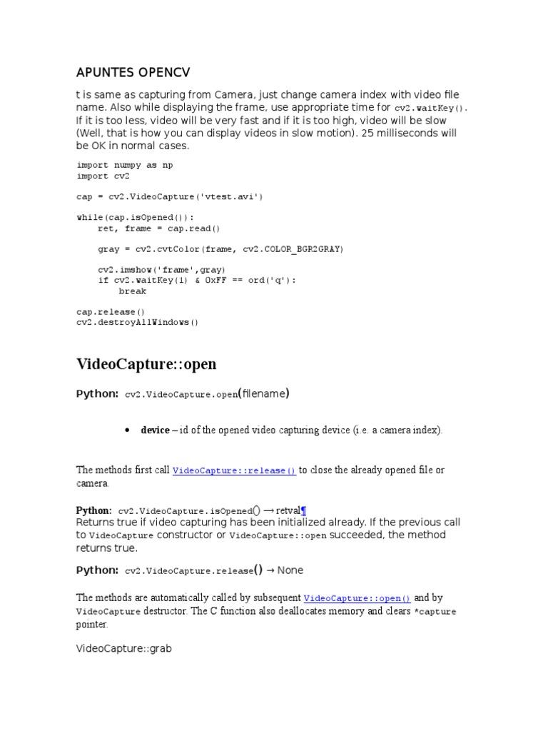 APUNTES OPENCV | Codec | Camera