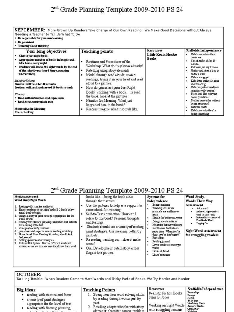 2nd grade planning 2009-2010 1   Reading Comprehension