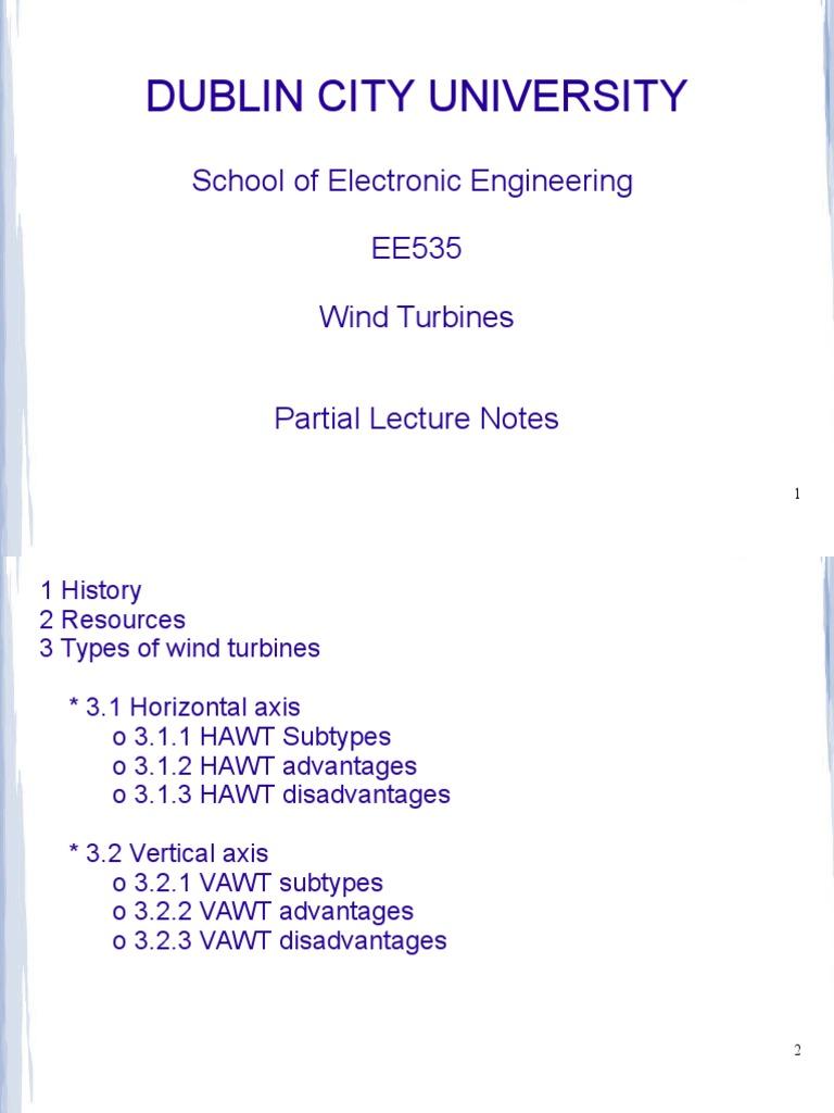EE535 Wind Turbines (1) ppt | Wind Turbine | Wind Power