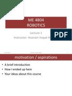 Robotics Lecture 1