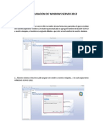 Configuracion de Windows Server 2012