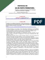 PROTOCOLO DE  AMENAZA DE PARTO PREMATURO.