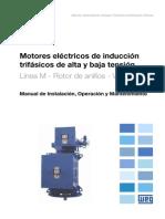 WEG Motor de Induccion Trifasico de Alta y Baja Tension Rotor de Anillos Vertical 11366351 Manual Espanol