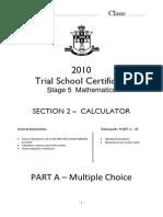 2010 Yr10 Trial Sc Calculator Section II Parts a b