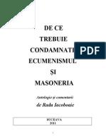 De Ce Trebuie Condamnate Ecumenismul Si Masoneria
