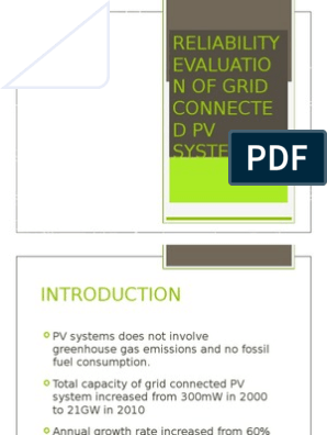 Reliability Evaluation Of Grid Connected Photovoltaic Power Systems Photovoltaics Photovoltaic System