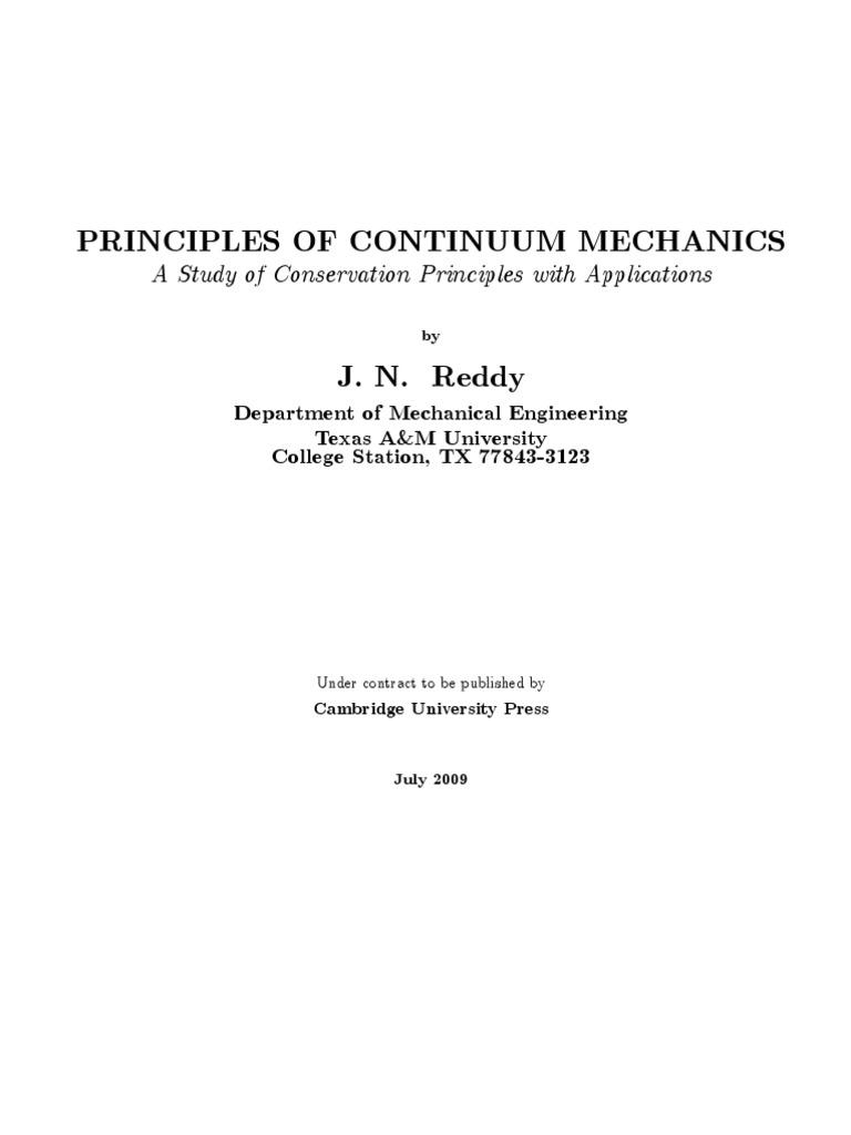 introduction to continuum mechanics j n reddy 1ed deformation rh es scribd com introduction to continuum mechanics solutions manual third edition introduction to tensor calculus and continuum mechanics+solution manual