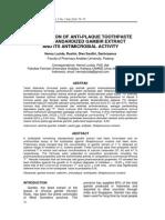 Formulation of Anti-plaque Toothpaste Ekstrak Gambir