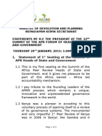 STATEMENT BY PRESIDENT UHURU KENYATTA - APRM MEETINGS