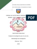 Control de Costos Para el Montaje de Sistema de Bombeo Unidad Minera Ticlio NV 10.doc