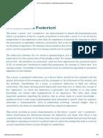 A Priori and a Posteriori