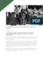 Declaración de La Masonería Contra El Fascismo