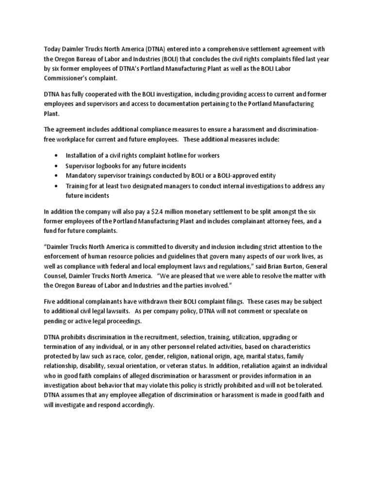 Boli settlement press statement harassment employment platinumwayz