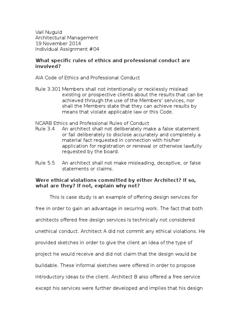 Response to AIA Ethics of Conduct | Architect | Government