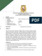 Silabo de Taller de Investigación Sociológica I 2014-1