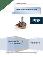 Práctica 2 Divisor de Voltaje