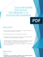 Desarticulacion Entre La Educacion Secundaria y La Educacion