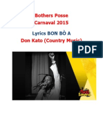 Lyrics Bothers Posse  Carnaval 2015  BON BÒ A