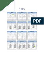 Calendario 2015 Excel Domingo a Sabado
