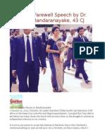 Sri Lanka Farewell Speech by Dr. Shirani a. Bandaranayake, 43 CJ
