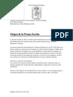 Origen de La Prensa Escrita