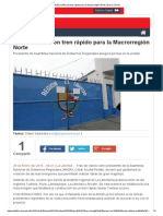29-01-2015 ACUÑA SUEÑA CON TREN RÁPIDO PARA LA MACROREGIÓN NORTE