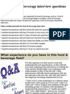 Top 10 food & beverage interview questions and answers pptx | Job